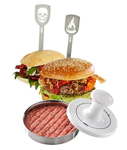 Gefu 117 Hamburgerpresse Spark 00117 Limited Edition, hochwertiger Edelstahl/Porzellan, Silber