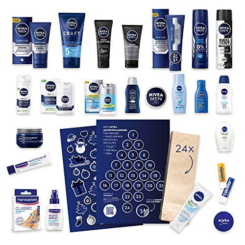 NIVEA DIY Adventskalender für Männer 2019, LIMITED EDITION, personalisiertes Geschenk zum Befüllen, inklusive 24 Produkte, 24 KOSTENLOSE Papiertüten und 2 Sticker Bögen - Warenwert 67 EUR