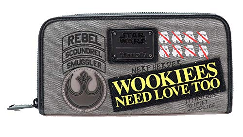 Loungefly Star Wars Rebel Wookie Patch Zip Around Geldbörse - - Einheitsgröße