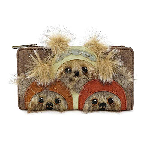 Star Wars Purse Ewok Trio Furry Faces Nue offiziell Loungfly Disney Braun