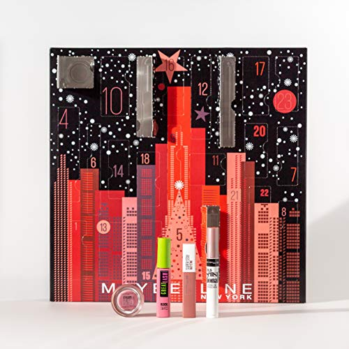 Maybelline New York Adventskalender mit Kosmetik hinter 24 Türchen, Beauty Adventskalender 2020 mit Schminke und Make Up