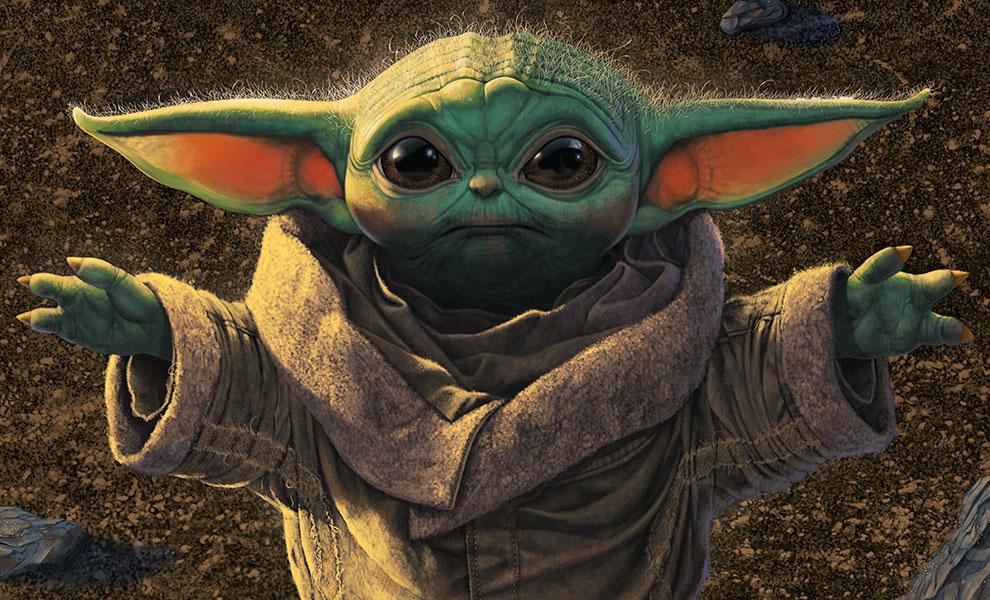 """Limitierter Baby Yoda / Grogu Kunstdruck """"Pick Me Up, Please"""""""